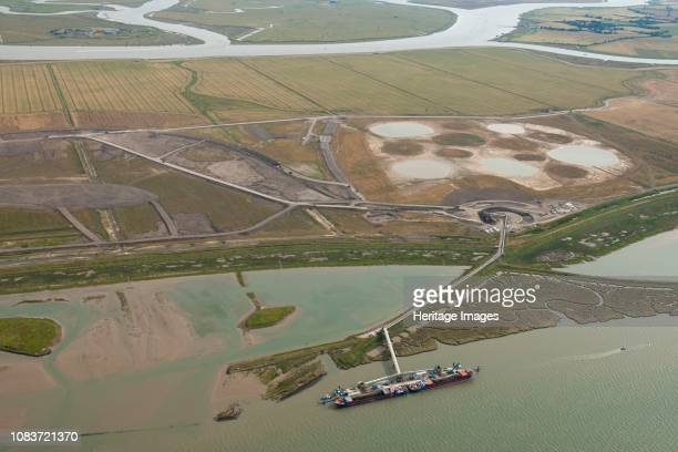Excavated material from Crossrail, Wallasea Island, Essex, 2014. Aerial view showing the material being used to create a nature reserve. Artist...