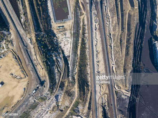 Excavated terrain and conveyors sit at the open pit lignite mine operated by RWE AG in Hambach Germany on Friday Oct 5 2018 The world must invest $24...