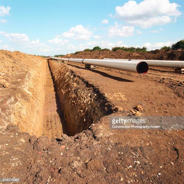 Excavated trench on the Essex marshes to install gas supply pipework for the Barking Reach power station the largest of the 1990s Dash For Gas...