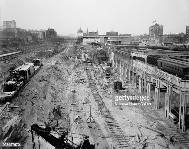 Excavation for Grand Central Terminal, New York City, New York, USA, Detroit Publishing Company, 1908.