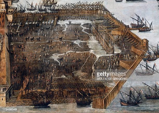 Excavation of the seabed between the Calvi and Spinola Bridges in Genoa in 1597 tempera on canvas by Cristofaro Grasso Italy 16th century Genoa Pegli...