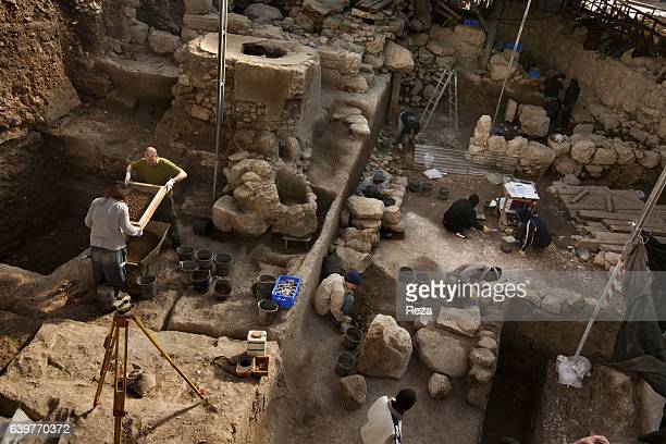 2008 excavation site Jerusalem Jerusalem district Palestine Israel An archaeological team at work on the excavation site believed site for The City...