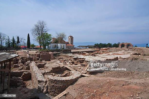 Excavations at Ohrid by Lake Ohrid, UNESCO World Heritage Site, Macedonia, Europe