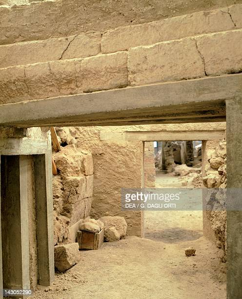 Excavations at the archaeological site of Akrotiri on Thera now Santorini Greece Minoan civilization 16th Century BC
