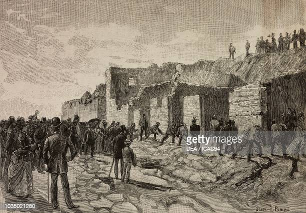 Excavations in Pompeii Italy engraving from a drawing by Edoardo Matania from L'Illustrazione Italiana No 49 November 20 1887