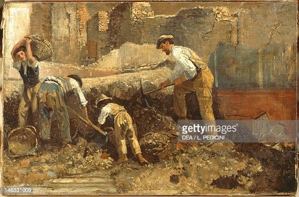 Excavations of Ercolano by Giuseppe Palizzi oil on canvas 355x533 cm