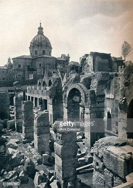 Excavations of the Forum of Julius Caesar at Rome circa 1932 Showing in the background the recently erected statue of the dictator From The...