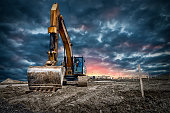 Excavator machinery at construction site