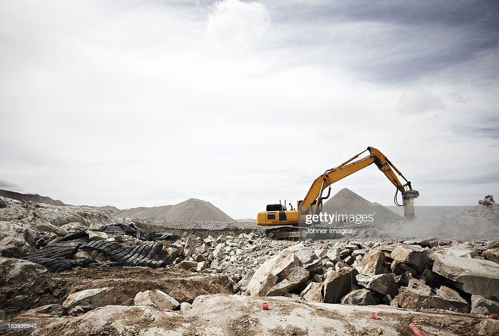 Excavator on construction site : Stock Photo