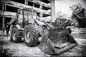 black white vintage view excavator with