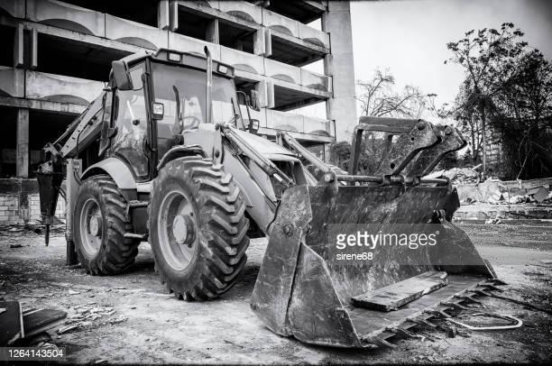 black white vintage view excavator with