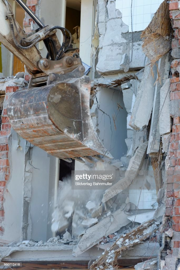 Excavator Shovel Tearing A Wall Down Demolition Of Building Bad Heilbrunn Upper
