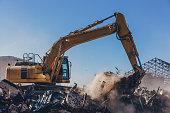 Excavator Working On a Demolition Site