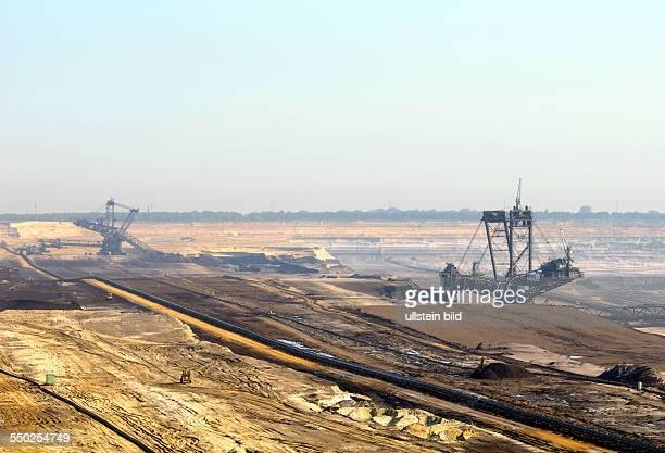 Excavators in the soft coal opencast mining site Garzweiler