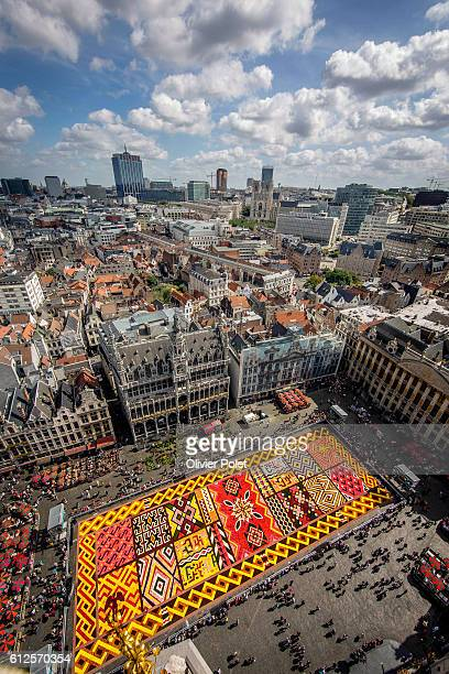 excclusif angle of the Flower Carpet 2012 on the Grand Place Grote Markt square in Brussels 17 August 2012 © Olivier Polet