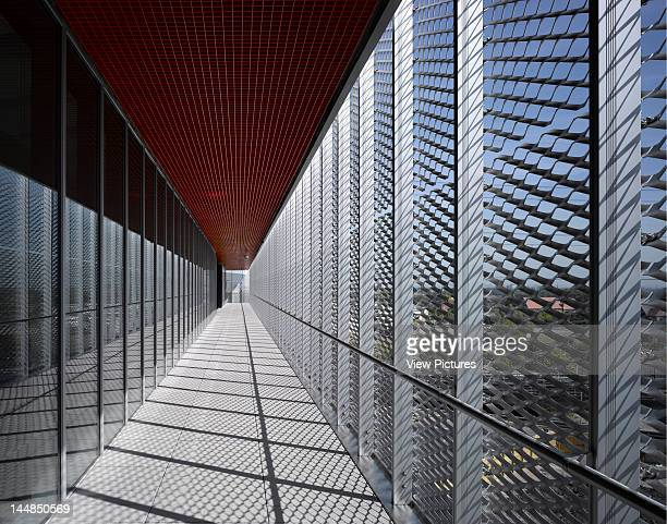 Excel Centre Royal Victoria Dock London E16 United Kingdom Architect Grimshaw Exterior View General Circulation Area Behind Steel Mesh Screen