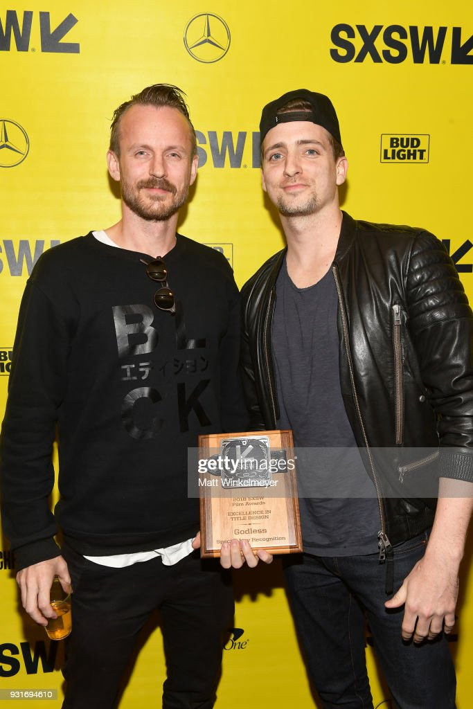 Excellence In Title Design Award winners for the Film Godless Jon Noorlander and John Likens attend the SXSW Film Awards Show 2018 SXSW Conference and Festivals at Paramount Theatre on March 13, 2018 in Austin, Texas.