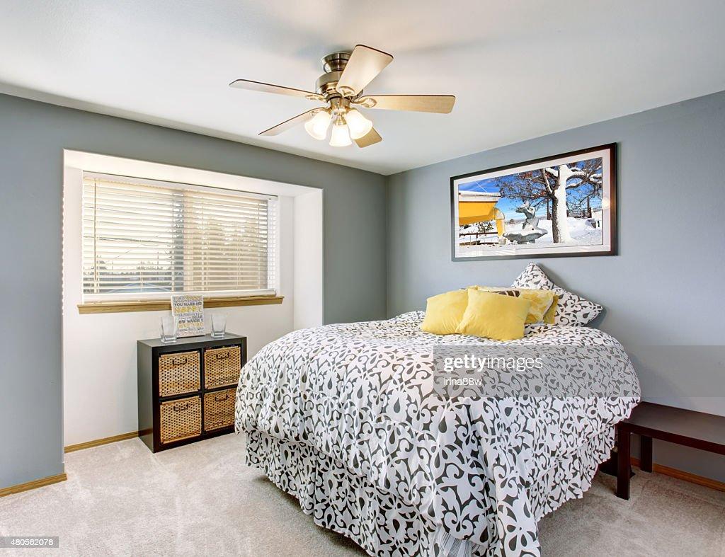 Excellent bedroom with grey walls. : Stock Photo