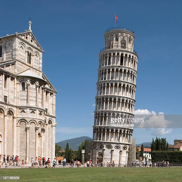 excellent display of leaning tower in pisa, italy - leaning tower of pisa stock photos and pictures