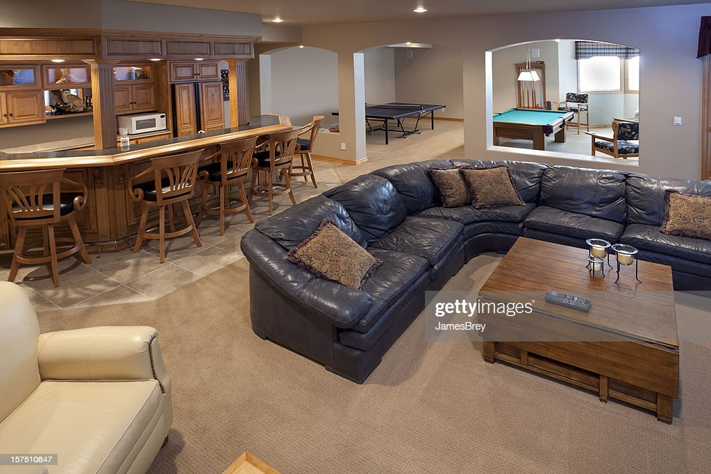 Excellent finished basement bar lounge game room pool for Free finished basement plans