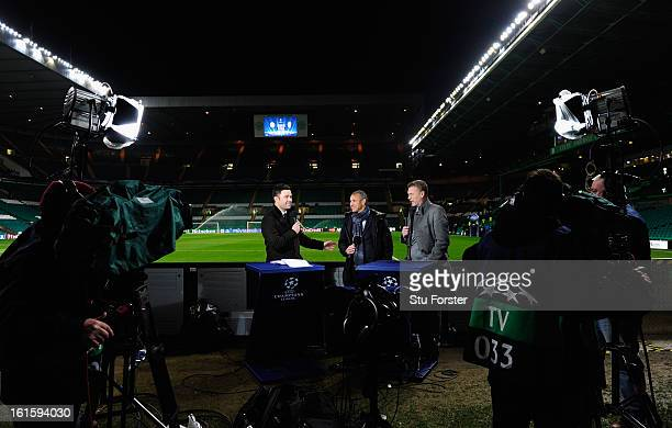 ExCeltic player Henrik Larsson and Everton Manager David Moyes speak to the media prior to the UEFA Champions League Round of 16 first leg match...