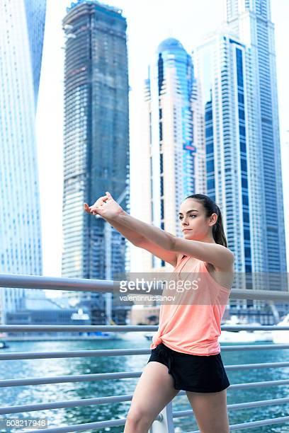 Excerciting in Dubai marina