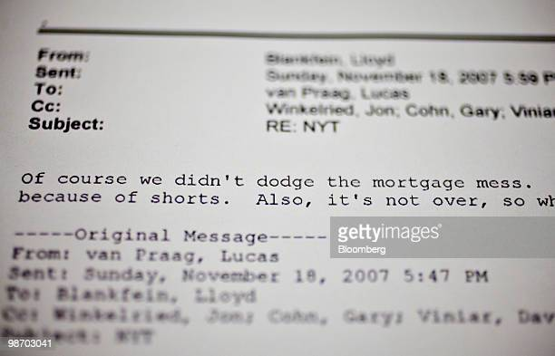Excerpts from internal Goldman Sachs Group Inc emails released by US Senator Carl Levin are displayed for a photograph in New York US on Tuesday...