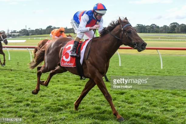 Excess Funds ridden by Luke Nolen wins the Ladbrokes Odds Boost Handicap at Ladbrokes Park Hillside Racecourse on July 10 2019 in Springvale Australia