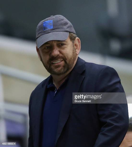 Exceutive Chairman James Dolan of the New York Rangers watches a practice session on an off day during the 2014 NHL Stanley Cup playoffs at Staples...