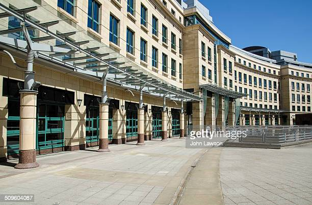 Exchange Crescent in the central business district of Edinburgh, Scotland. The Exchange business district is a modern development of offices and...