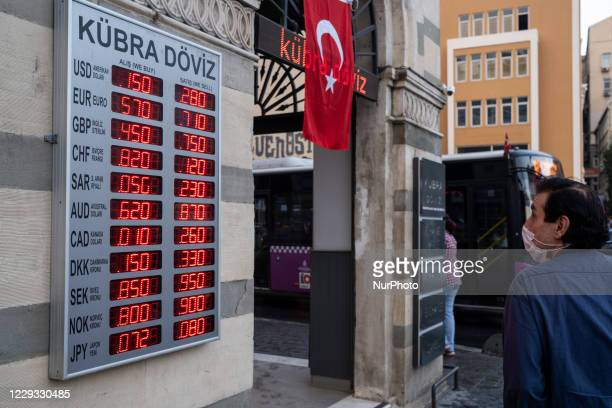 Exchange offices in Istanbul, Turkey seen on October 28, 2020. Due to the increase in exchange rates and the economic instability, people change...