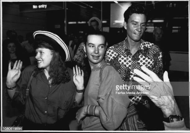 Exchange students return from PanamaL to R Annette Price of MacKay Elizabeth Malone of Sydney Matthew Cichero Bris January 09 1990