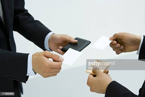 Exchanging Business Cards, Body Parts, High Angle View, Close Up