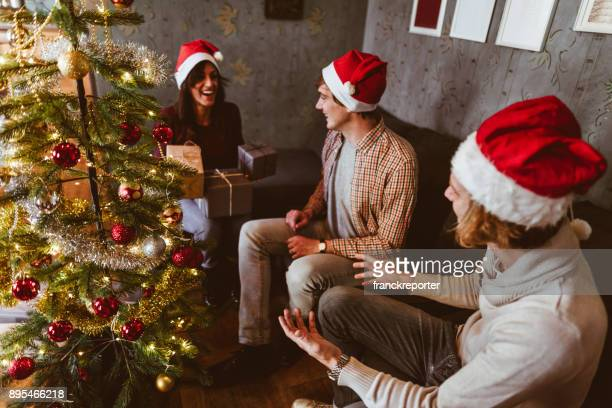 exchanging the christmas presents at home