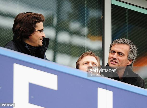 ExChelsea manager Jose Mourinho now coach of Inter Milan and fitness coach Rui Faria look on from the stand prior to the Barclays Premier League...
