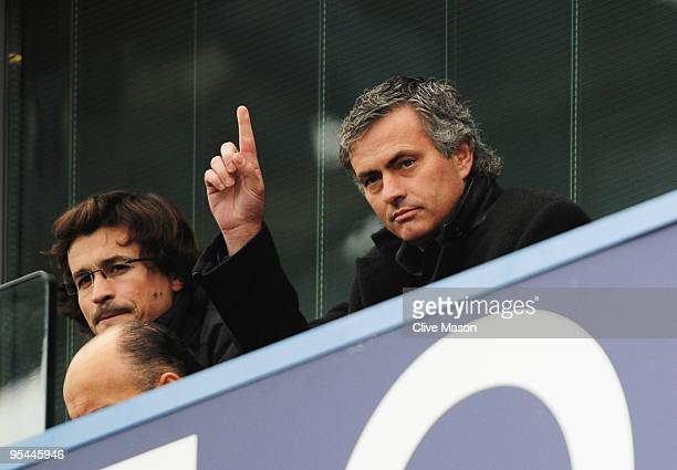 ExChelsea manager Jose Mourinho now coach of Inter Milan gestures from the stand prior to the Barclays Premier League match between Chelsea and...