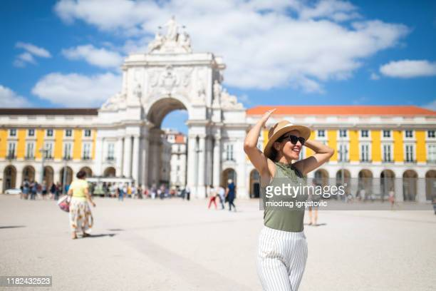 excited about her vacation in lisbon - lisbon stock pictures, royalty-free photos & images