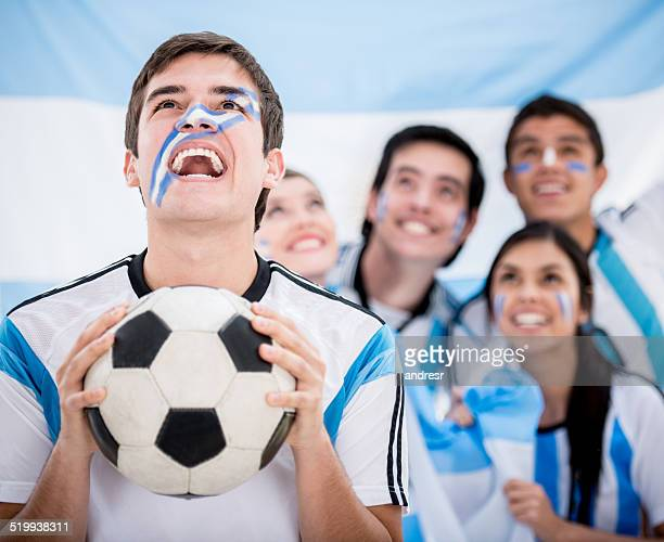 Excited Argentinean football fans