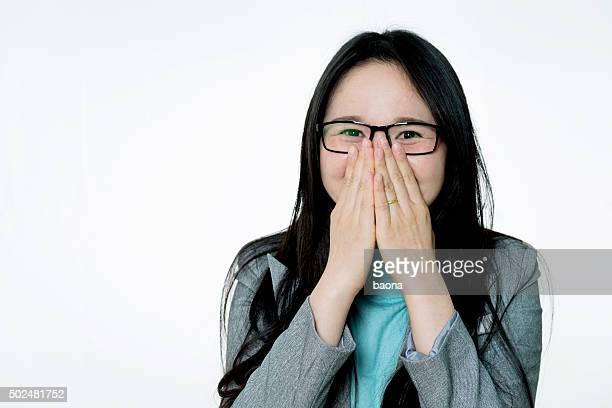 Aufgeregt asiatische Geschäftsfrau