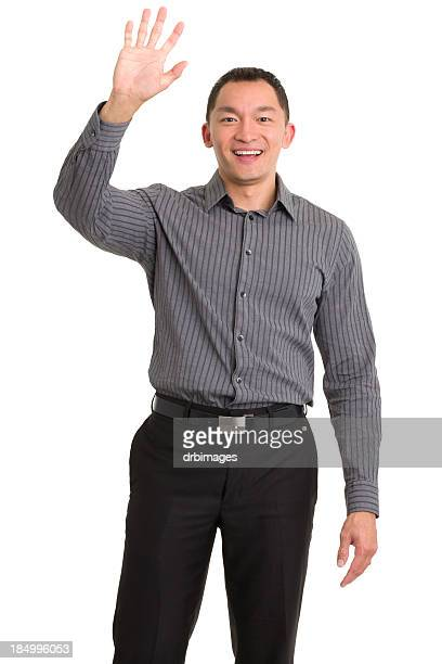 Excited Asian Man Waving Hello