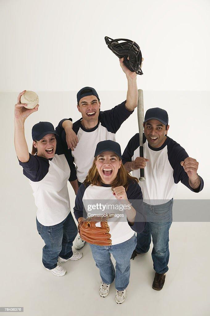 Excited baseball players : Stockfoto