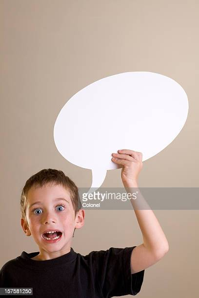 Excited boy with speech bubble