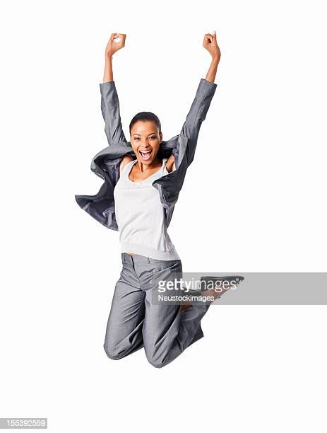 excited businesswoman jumping - isolated - jumping stock pictures, royalty-free photos & images