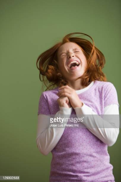 Excited Caucasian girl