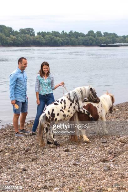 upphetsad par med ponny av floden - pony play bildbanksfoton och bilder