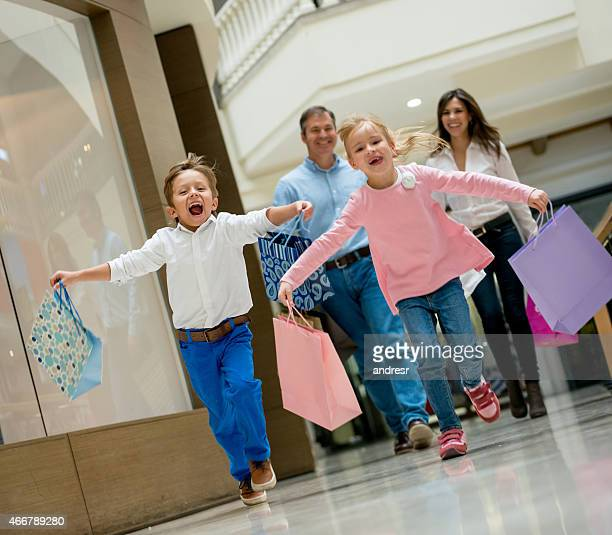 Excited family at the shopping center