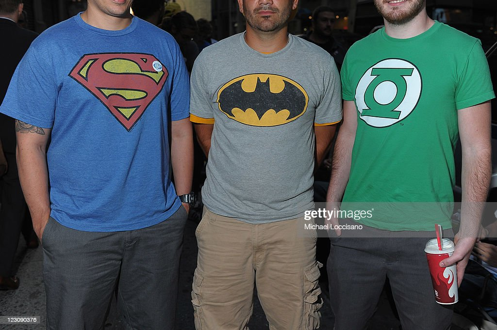 Excited Fans at DC Comics' Midnight Madness Event Celebrating the release of New No. 1 issue of 'Justice League' at Mid Town Comics on August 30, 2011 in New York City.