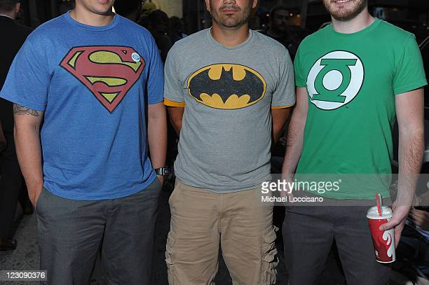 Excited Fans at DC Comics' Midnight Madness Event Celebrating the release of New No 1 issue of Justice League at Mid Town Comics on August 30 2011 in...
