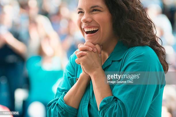 Excited female spectator