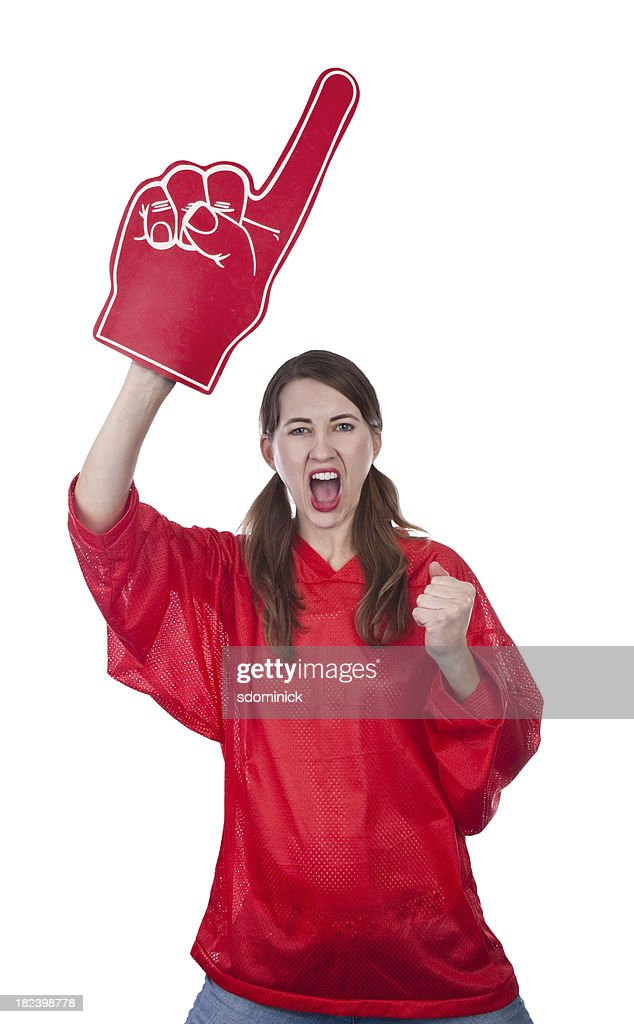 Excited Female Sports Fan With Foam Finger : Stock Photo